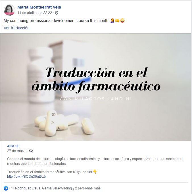 Opinión curso Traducción en el ámbito farmacéutico