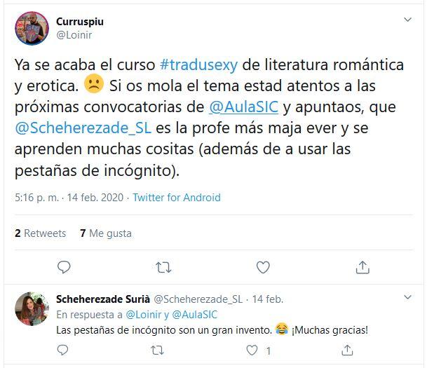 Opinión curso Traducción romántica y erótica.