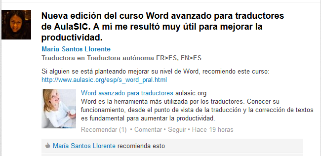 Opinión curso Word avanzado para traductores